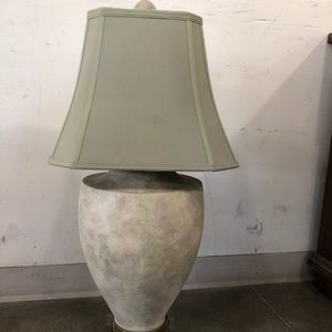 Double socket green and beige lamp